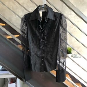 **BNWT** Bebe black lace ruffle shirt blouse XS